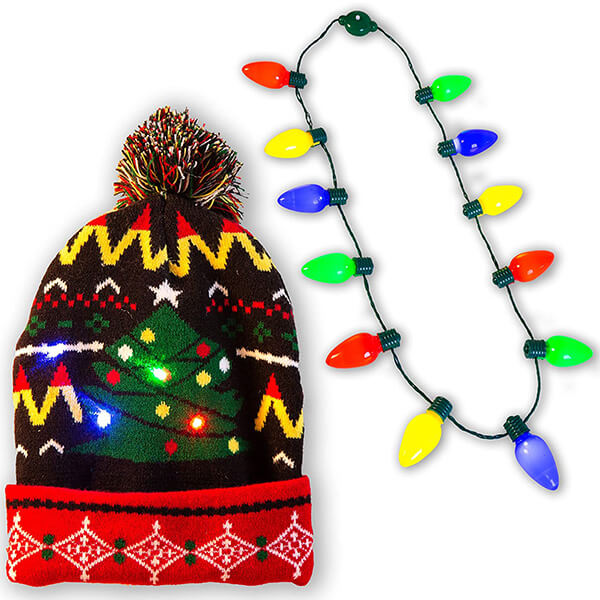 Led christmas beanie with light up 12- bulb necklace