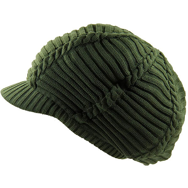 Olive Green Ribbed Beanie With Visor