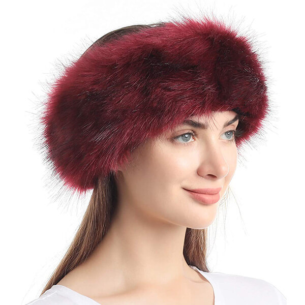 Wine Red Faux Fur Beanie for Everyone