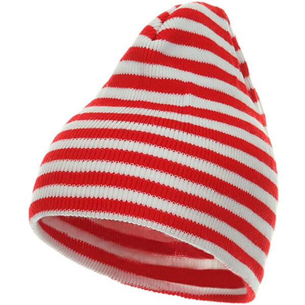 Red and white trendy striped unisex winter hat