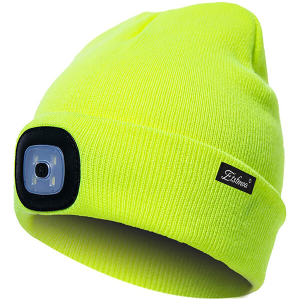 Bestselling, reflective safety beanie with headlamp