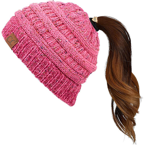Hot Pink Ribbed Beanie With Ponytail Beanie