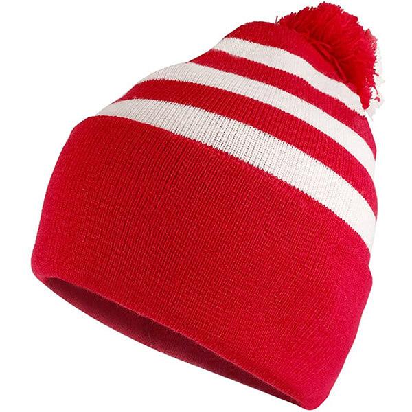 Red and white striped cuff beanie with pom pom