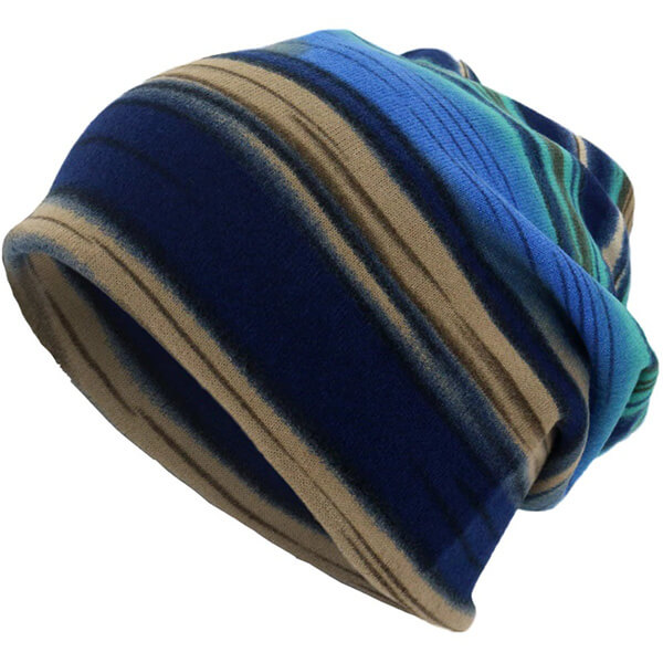 Striped knitted beanie for men