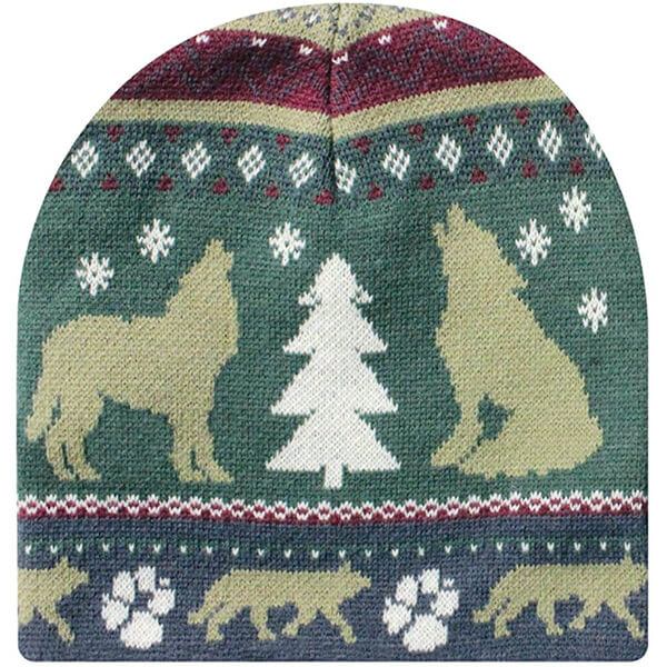 Unique Knitted Wolf Beanie Hats for All Ages