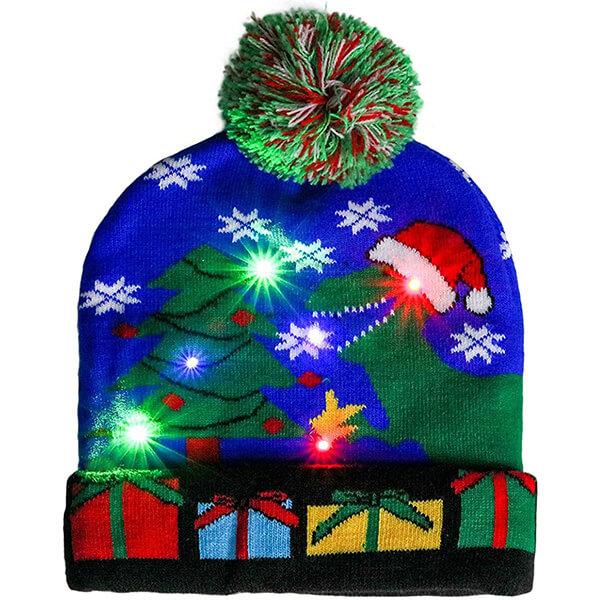 Blue dino design Christmas light-up beanie