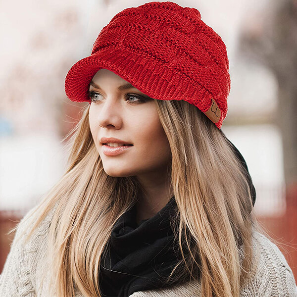 Safety Reflective Red Ribbed Beanie With Visor