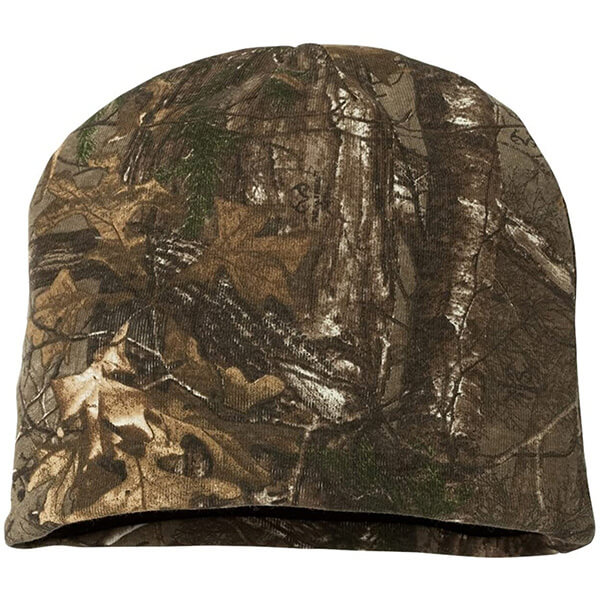 Stain-resistant camo cuffless beanies for all head sizes