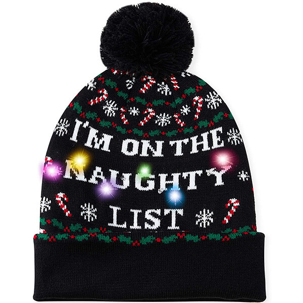 Naughty black-led christmas beanie for everyone