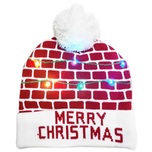 Brick wall design Christmas LED beanie for children