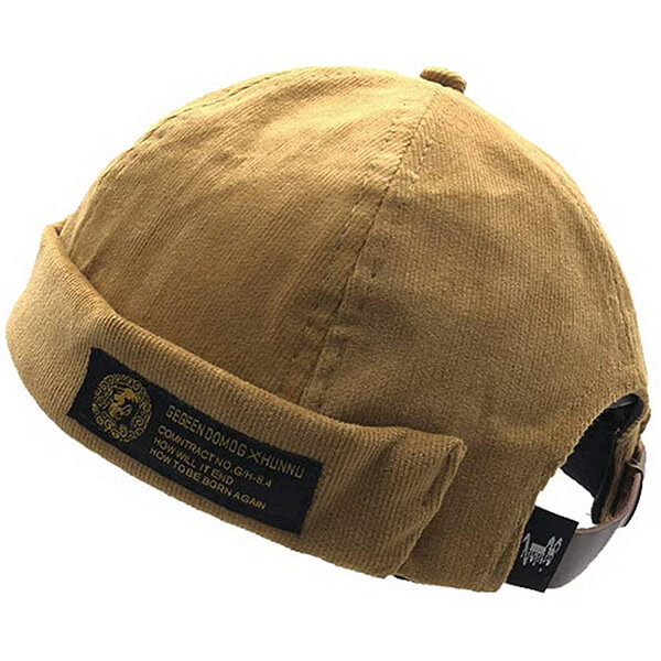 Fashion-forward khaki strap back beanie