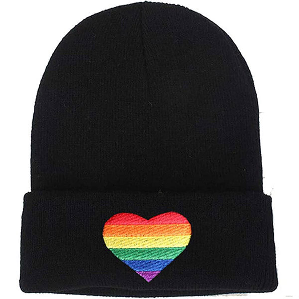 Knitted Winter Beanie with Rainbow Heart Embroidery
