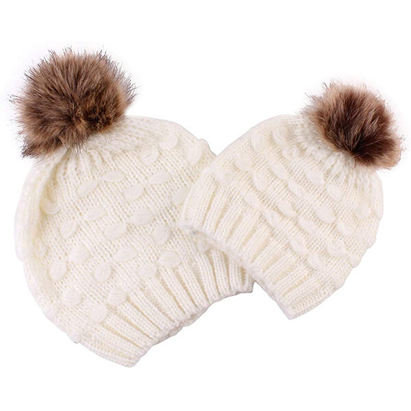 Snowwhite pom-pom knitted beanie for you and your baby