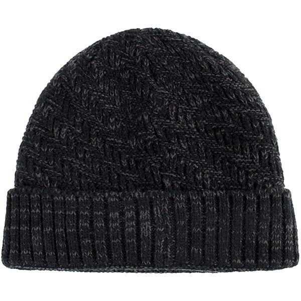Thick knit cuff beanie cap