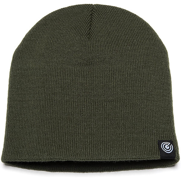 Trendsetting army green cuffless beanie for unisex