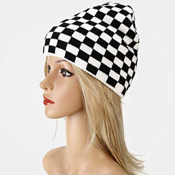 Warm Checkerboard Pattern Beanie