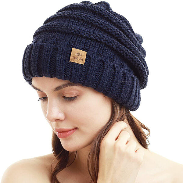 White Ribbed Knit Beanie With Face Mask