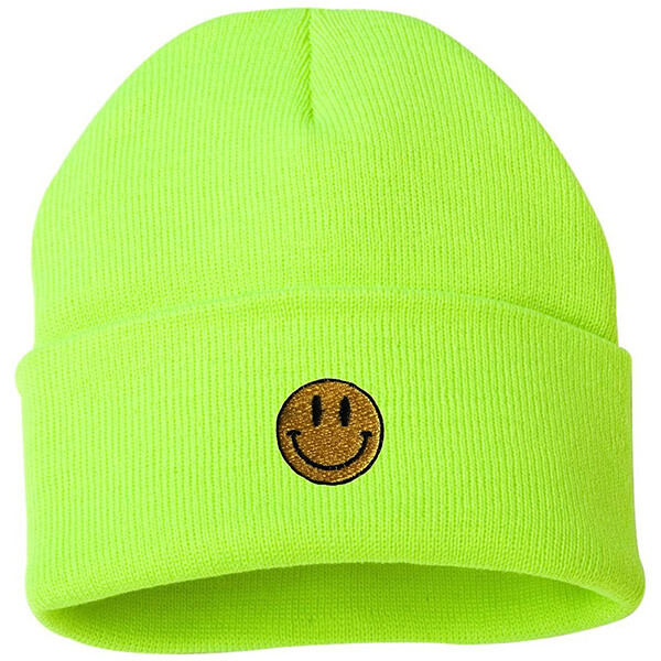 Neon lime, safety reflective smiley face beanie