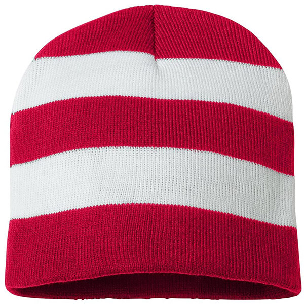 Red and white striped knit beanie