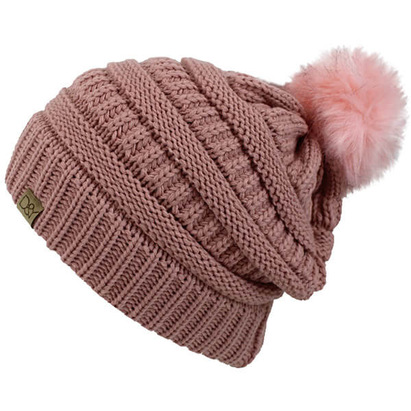 Ribbed slouch winter hat with fur pom pom