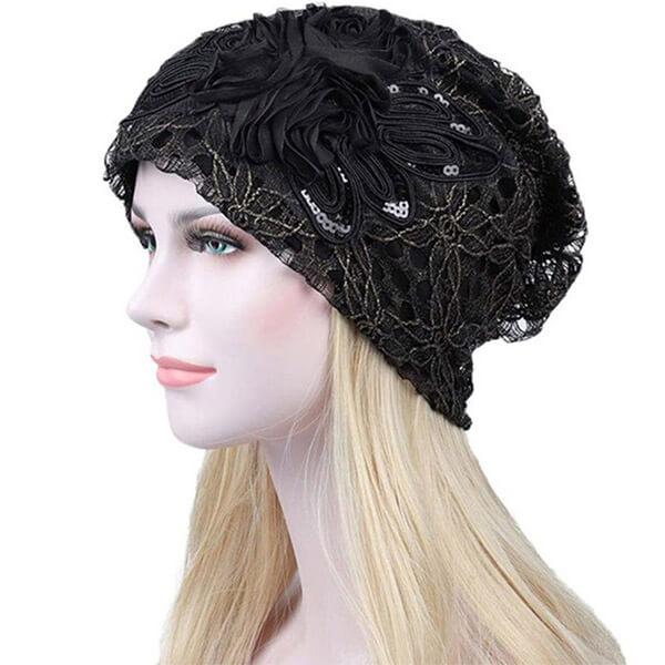 Unique Lace flower black sequin beanie for you
