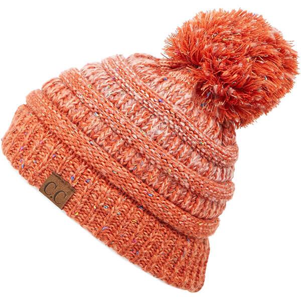 Warm Orange Tinge Pom pom Ribbed Beanie