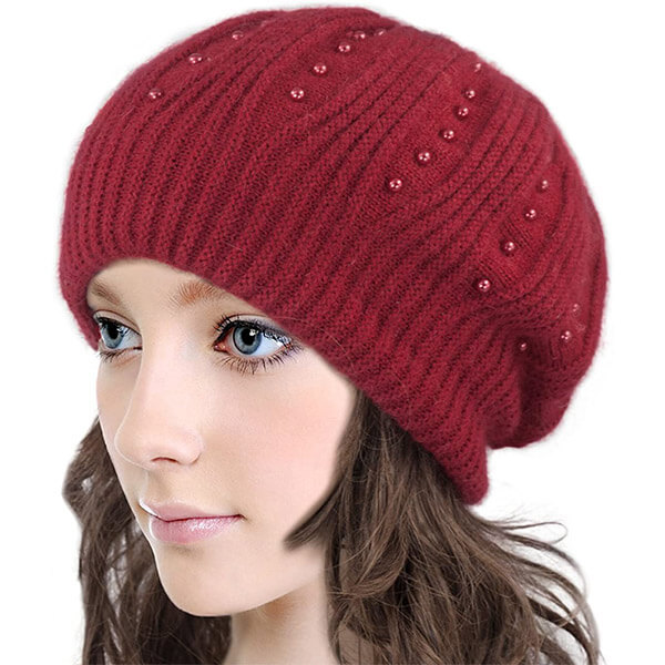 Woolen Beanie Hat with Pearl