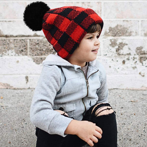 Adorable plaid checkered pom-pom beanie for babies and toddlers