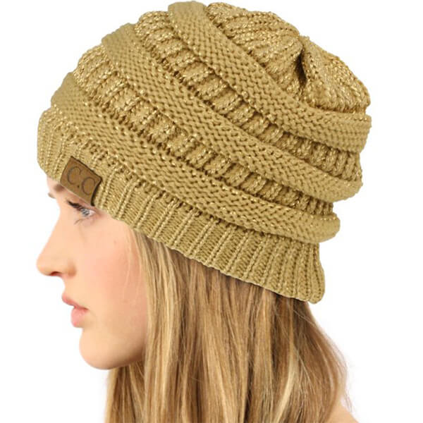 Alluring Metallic Gold Ribbed  Beanie For You