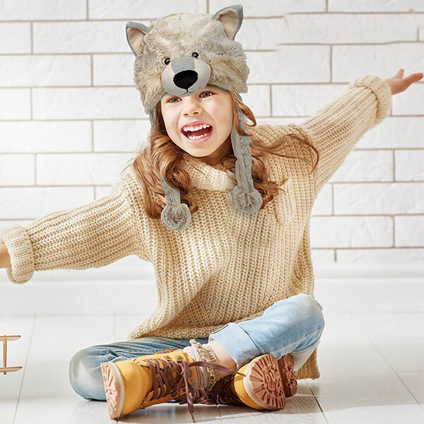 Amusing Wolf beanie With Hanging Pom-poms