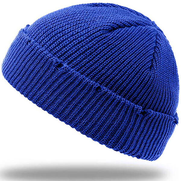 Blue beanie winter hat with roll-up edge