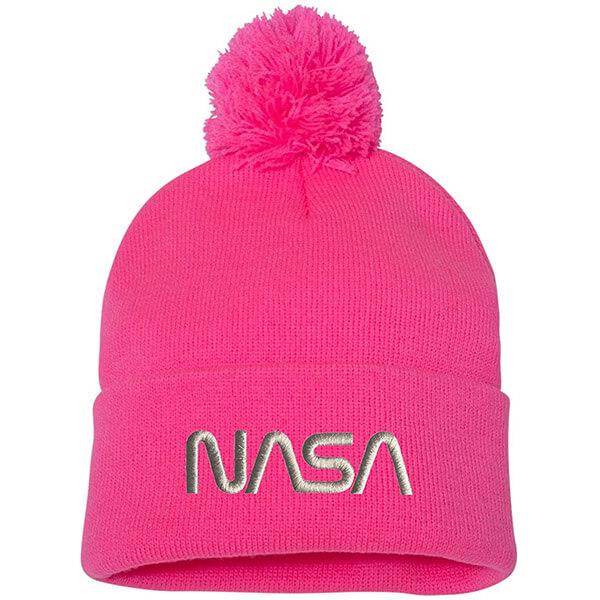 Fashion Forward Neon pink NASA Beanie