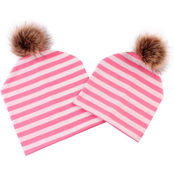 Pink and white striped beanies for mommy and child