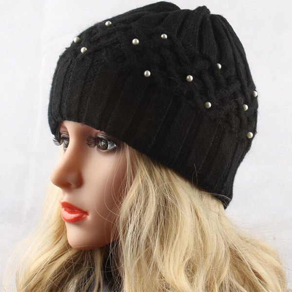 Rabbit Fur Beanie for Women with Pearl