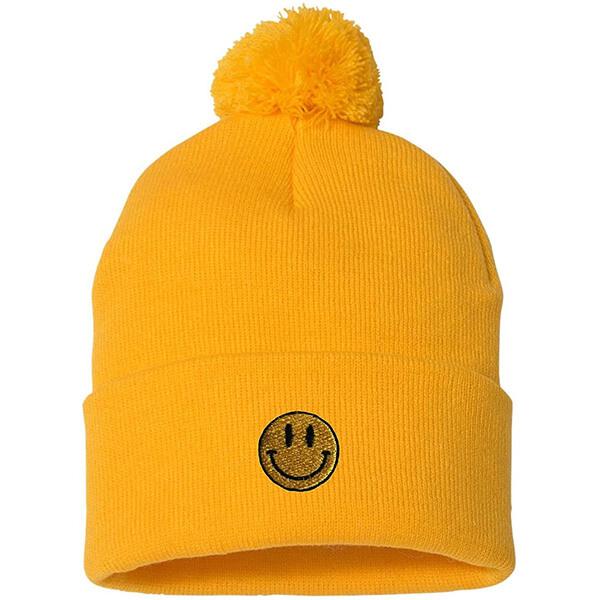 Safety yellow pom-pom smiley face beanie
