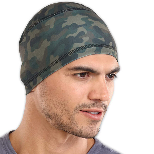 Stand out camo running beanie for cut-price