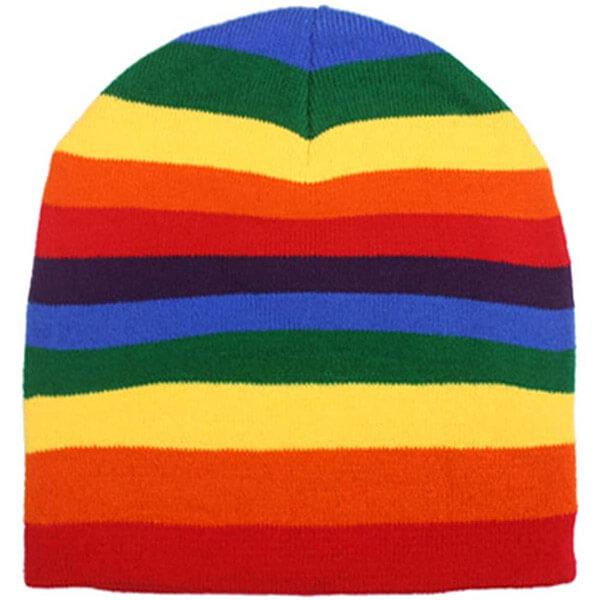 Striped Rainbow Multicolor Knit Beanie
