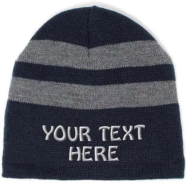 Unisex striped fleece winter hat with personalized text