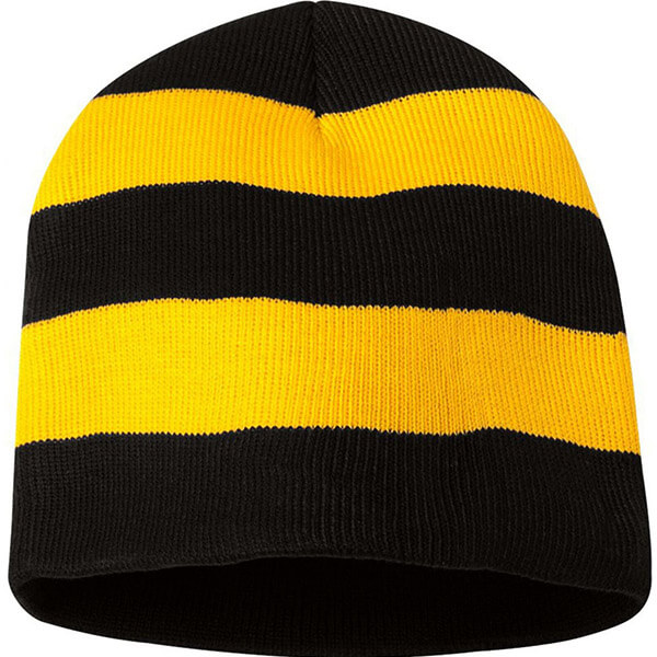 Acrylic unisex striped knit beanie