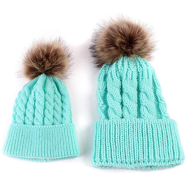 Chic Lake green mommy and me beanies