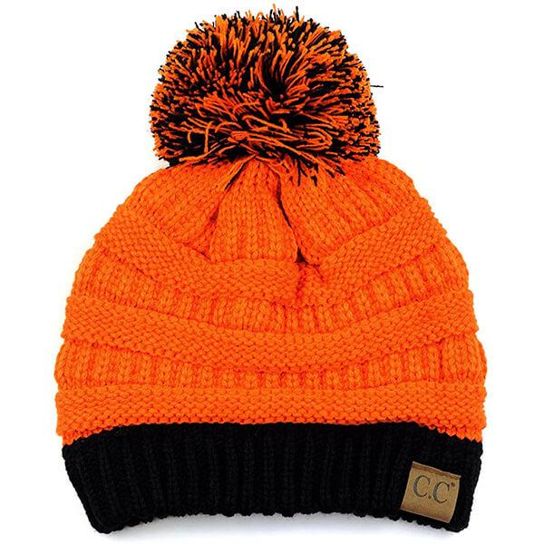 Orange Black Two Tone Pom Pom Beanie