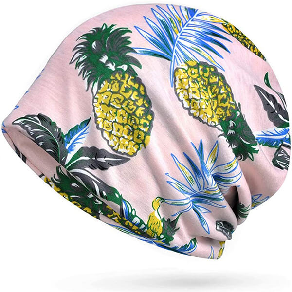 Pink Floral and Pineapple Print Slouchy Winter Beanie