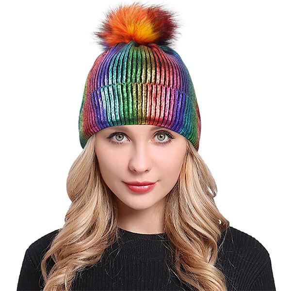 Rainbow Metallic Beanie