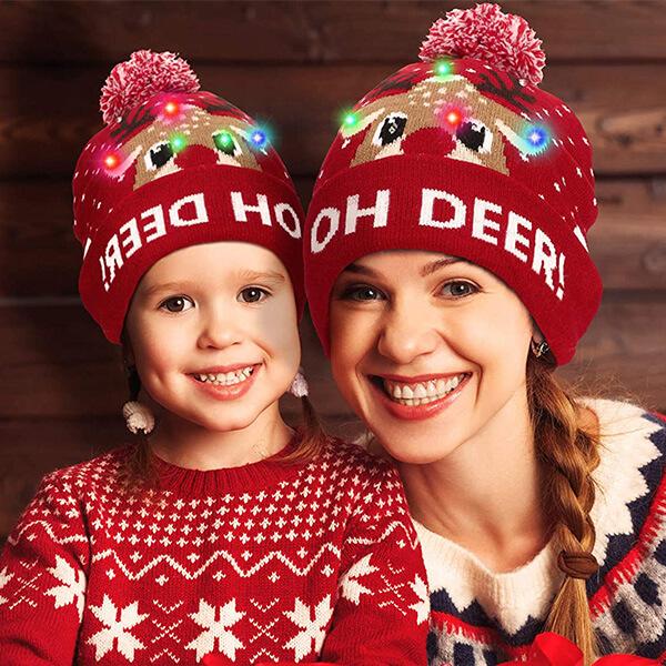 Reindeer light up 2 Christmas beanies