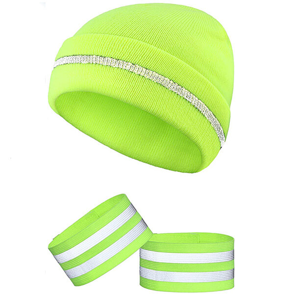 Safety reflective beanie and bands for fitness lovers