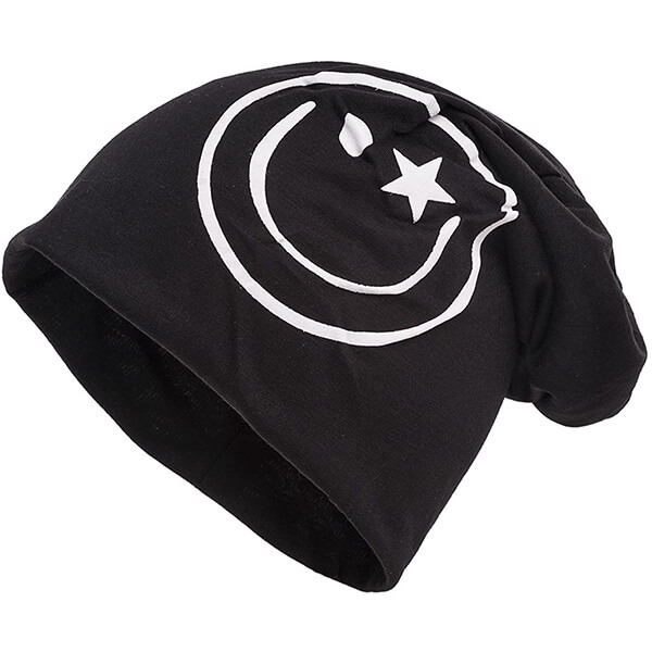Slouchy super cool smiley face beanie hat