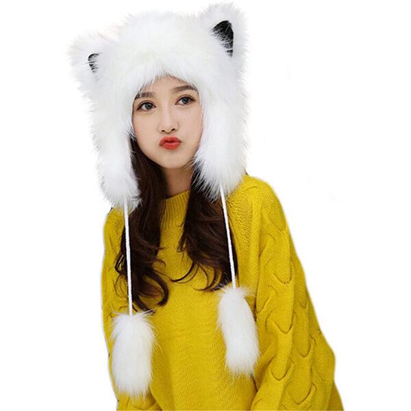 Snow White Fur Beanie for the Matching Season