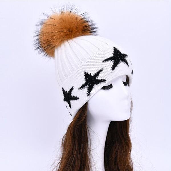 Snow white star beanie for a fashion-forward look