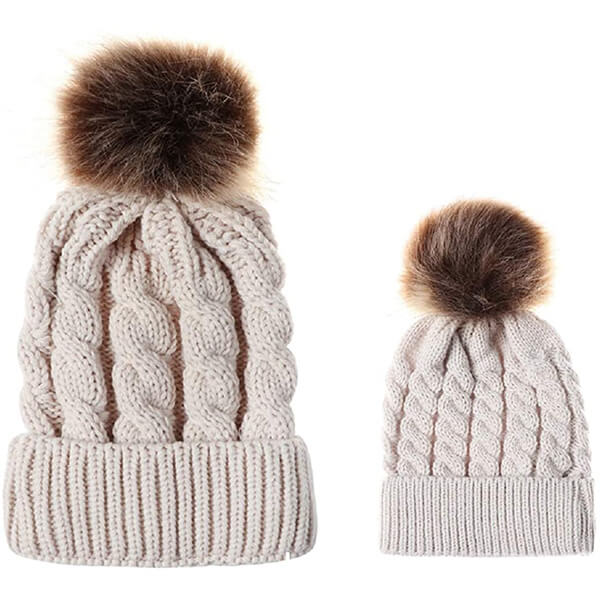 Beige matching beanies for you and your son