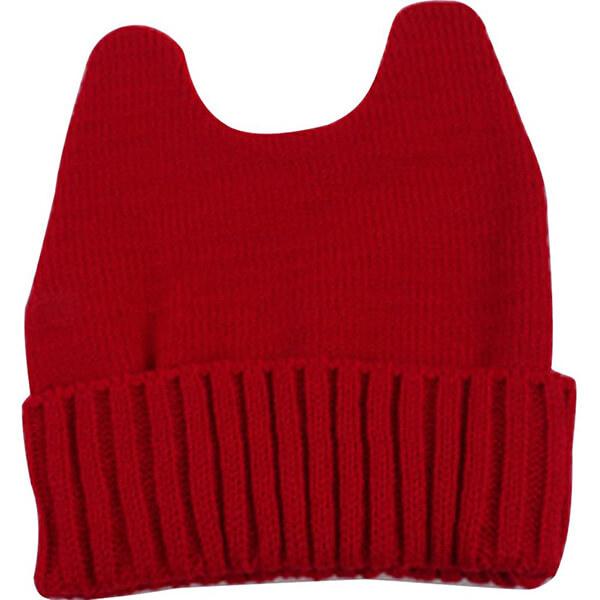 Cute red horn cotton sweat-free beanie